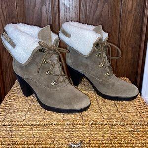 Aerosoles Faux Fur Taupe Ankle Boots